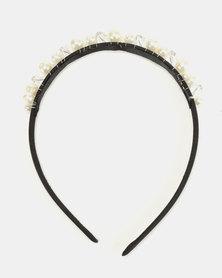 Jewels and Lace Handmade Pearl Rhinestone Aliceband Gold