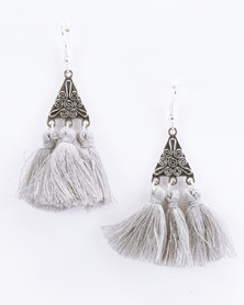 Jewels and Lace Tassel Earrings Grey