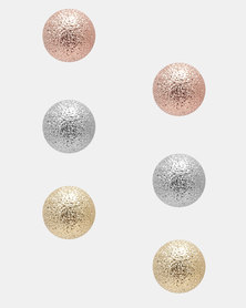 Jewels and Lace Glitter Ball 3 Pack Earrings Multi Coloured