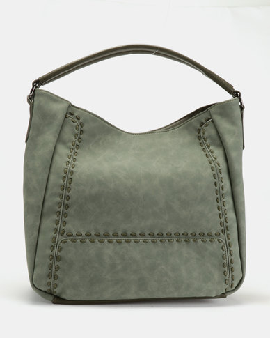 Queue Relaxed Hobo With Stitching Detail Olive