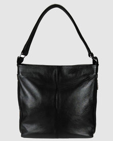 Icon Leather Hobo Handbag Outer Zips Black