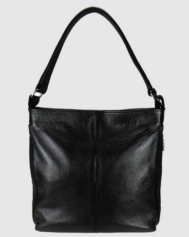 Icon Leather Hobo Handbag Outer Zips Black