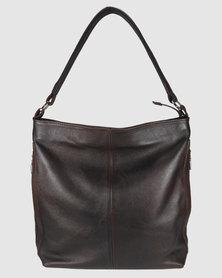 Icon Leather Hobo Handbag Outer Zips Brown