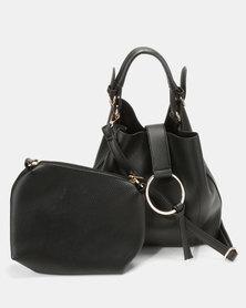 Vikson Ring Detailed Hobo Bag and CrossBody Bag Black