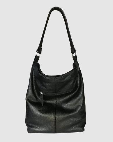 Icon Leather Suede Leather Hobo Handbag Black