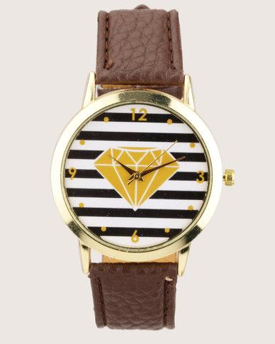 Utopia Diamond Watch Tan