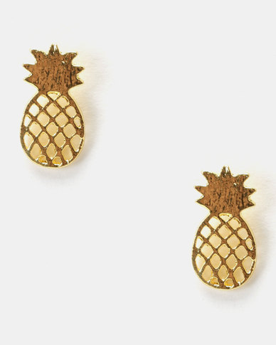 Utopia Pineapple Stud Earrings Gold-tone