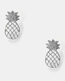 Utopia Pineapple Stud Earrings Silver-tone