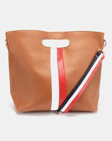 Utopia Stripe Foldover Bag Tan