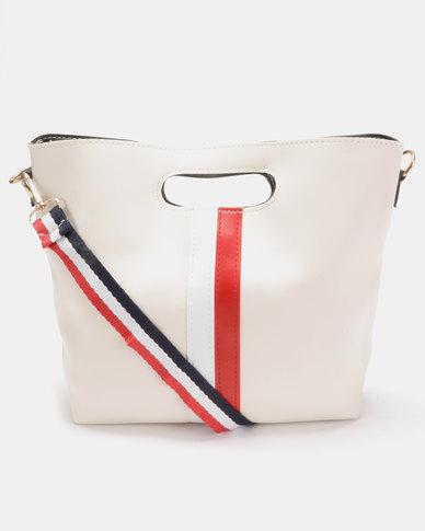 Utopia Stripe Foldover Bag Cream