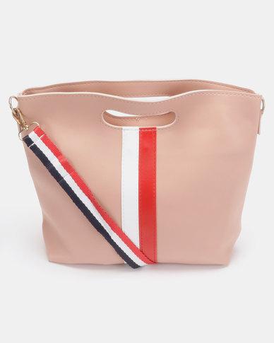 Utopia Stripe Foldover Bag Pink