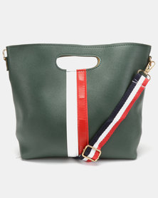 Utopia Stripe Foldover Bag Green