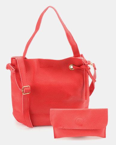 Utopia 2 Piece Drawstring Bag Red