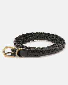 All Heart Genuine Leather Braided Belt Black