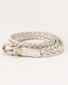 All Heart Genuine Leather Braided Belt White