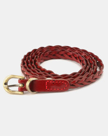 All Heart Genuine Leather Braided Belt Red