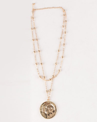 All Heart Coin Detail Double Layer Necklace Gold Toned