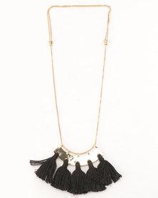 All Heart Fan Tassel Necklace Black