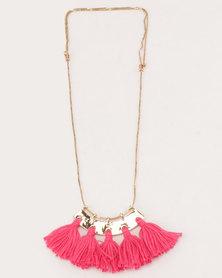 All Heart Fan Tassel Necklace Pink