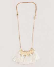 All Heart Fan Tassel Necklace White