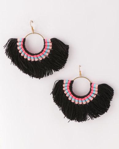 All Heart Playful Tassel Earrings Black