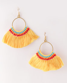 All Heart Playful Tassel Earrings Yellow