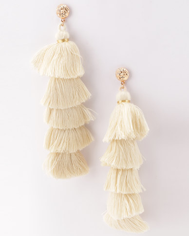 All Heart Multi Drop Tassle Earrings Nude