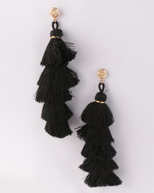 All Heart Multi Drop Tassel Earrings Black