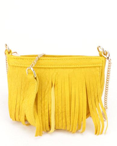 All Heart Fringe CrossBody Bag Yellow