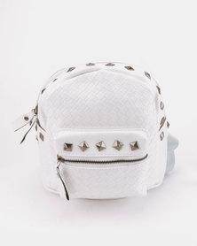 All Heart White Braided Stud Backpack White