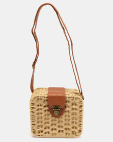 All Heart Dark Natural Square Structured Straw Crossbody Bag Neutral