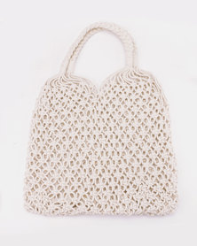 All Heart White Woven Straw Shopper Bag White
