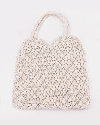 All Heart White Woven Straw Shopper Bag White