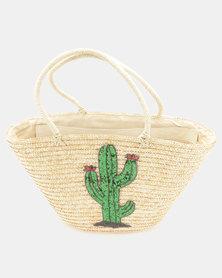 All Heart Cactus Straw Shopper Neutral