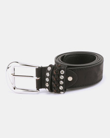 Queenspark Mottled Metallic Belt With 3 Keepers Black