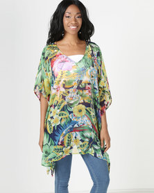 Queenspark Multi Short Kaftan With Beading Detail Green/Colour