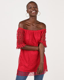 cath.nic By Queenspark Lace Knit Top Red