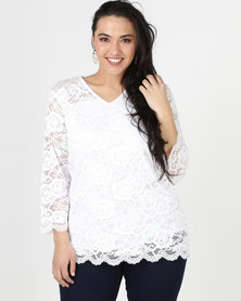 Queenspark Plus Scalloped Smart Lace Knit Top Cream