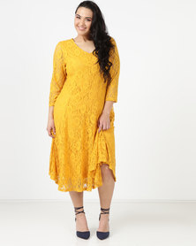 Queenspark Plus Classic Fit & Flare Knit Dress Mustard