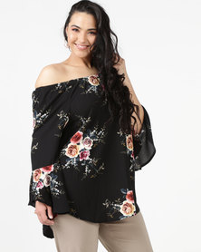 Queenspark Plus Marilyn Frill Sleeve Woven Blouse Black