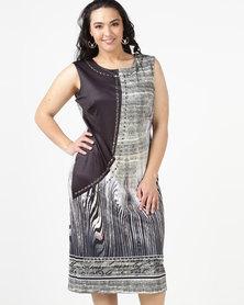 Queenspark Plus Leopard Stalker Knit Bodycon Dress Black