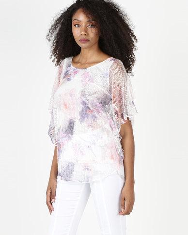 Queenspark Matisse Blossom Bag Design Swing Fashion Knit Top Multicolour