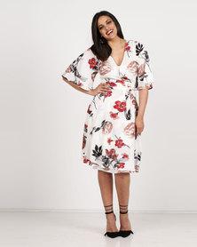 Queenspark Pretty Floral Wrap Dress Cream