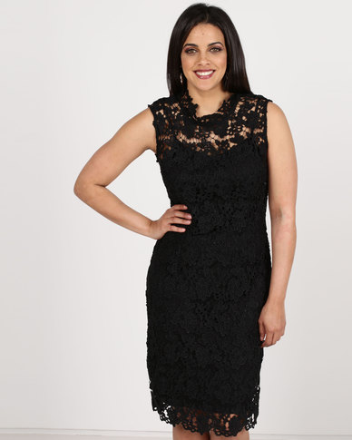 Queenspark High Neck Lace Woven Dress Black