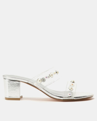 8842e27a11a Queenspark Double Strap Pearls On Jelly Strap Medium Heels Silver