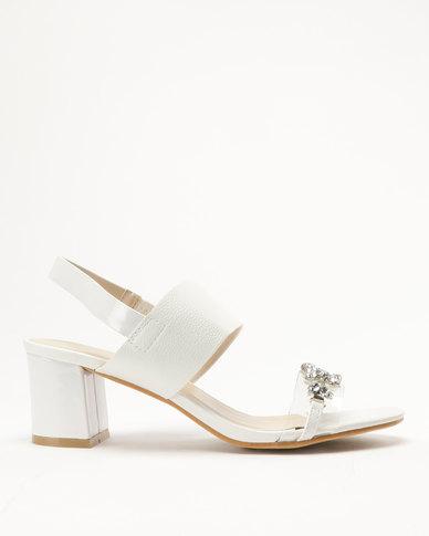 29cf5e266 Queenspark Double Strap Medium Heel Diamante Trim Sandals White