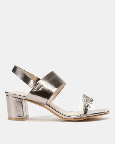 03b2b6db6 Queenspark Double Strap Medium Heel Diamante Trim Sandals Pewter