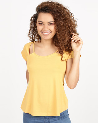 Utopia T-Shirt With Cut Out Mustard