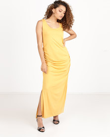 Utopia Ruched Maxi Dress With Slit Mustard