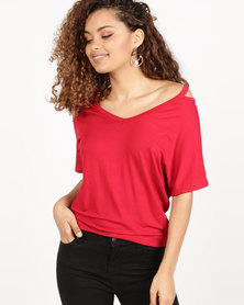 Utopia Tee With Neck Detail Red